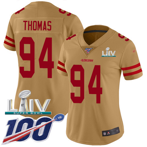 Nike 49ers #94 Solomon Thomas Gold Super Bowl LIV 2020 Women's Stitched NFL Limited Inverted Legend 100th Season Jersey