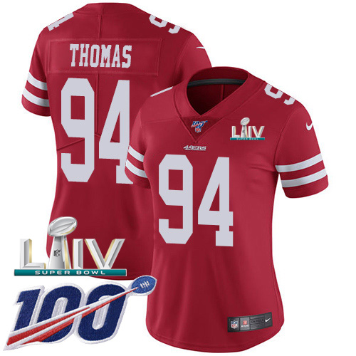 Nike 49ers #94 Solomon Thomas Red Super Bowl LIV 2020 Team Color Women's Stitched NFL 100th Season Vapor Limited Jersey