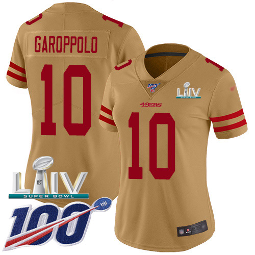 Nike 49ers #10 Jimmy Garoppolo Gold Super Bowl LIV 2020 Women's Stitched NFL Limited Inverted Legend 100th Season Jersey
