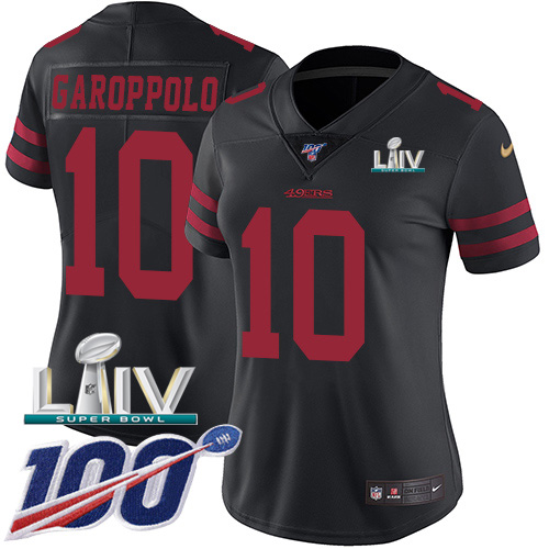 Nike 49ers #10 Jimmy Garoppolo Black Super Bowl LIV 2020 Alternate Women's Stitched NFL 100th Season Vapor Limited Jersey