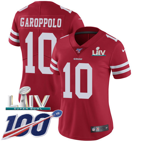 Nike 49ers #10 Jimmy Garoppolo Red Super Bowl LIV 2020 Team Color Women's Stitched NFL 100th Season Vapor Limited Jersey