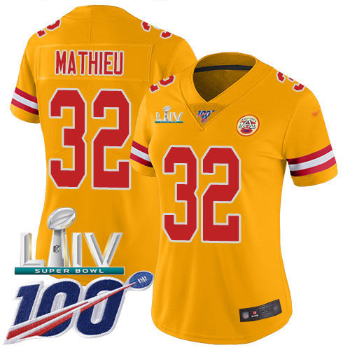 Nike Chiefs #32 Tyrann Mathieu Gold Super Bowl LIV 2020 Women's Stitched NFL Limited Inverted Legend 100th Season Jersey