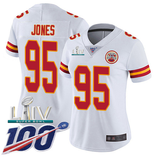 Nike Chiefs #95 Chris Jones White Super Bowl LIV 2020 Women's Stitched NFL 100th Season Vapor Untouchable Limited Jersey