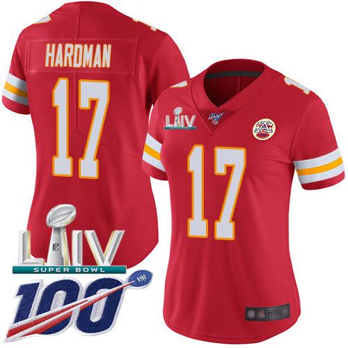 Nike Chiefs #17 Mecole Hardman Red Super Bowl LIV 2020 Team Color Women's Stitched NFL 100th Season Vapor Untouchable Limited Jersey
