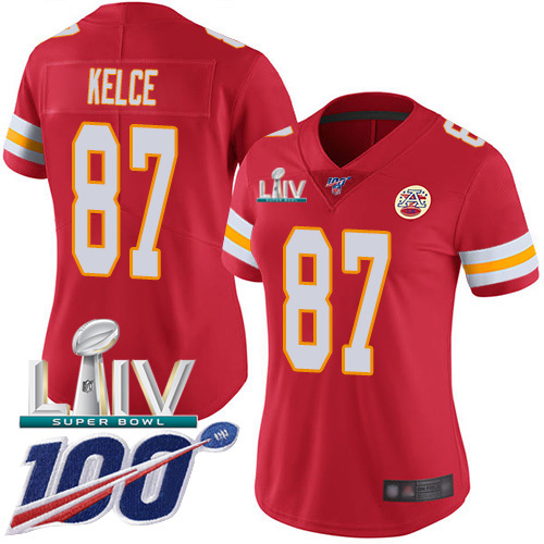 Nike Chiefs #87 Travis Kelce Red Super Bowl LIV 2020 Team Color Women's Stitched NFL 100th Season Vapor Untouchable Limited Jersey