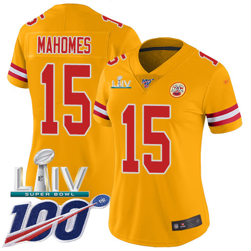 Nike Chiefs #15 Patrick Mahomes Gold Super Bowl LIV 2020 Women's Stitched NFL Limited Inverted Legend 100th Season Jersey