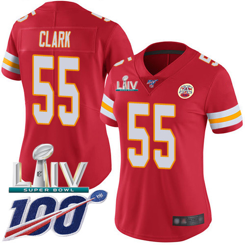 Nike Chiefs #55 Frank Clark Red Super Bowl LIV 2020 Team Color Women's Stitched NFL 100th Season Vapor Untouchable Limited Jersey