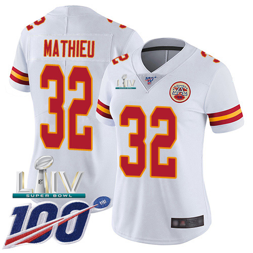 Nike Chiefs #32 Tyrann Mathieu White Super Bowl LIV 2020 Women's Stitched NFL 100th Season Vapor Untouchable Limited Jersey