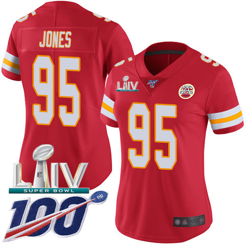 Nike Chiefs #95 Chris Jones Red Super Bowl LIV 2020 Team Color Women's Stitched NFL 100th Season Vapor Untouchable Limited Jersey