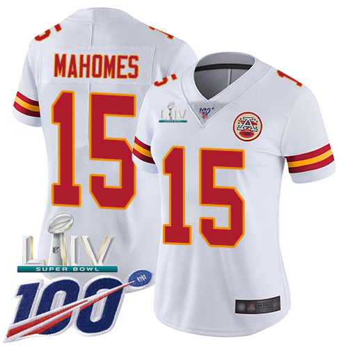 Nike Chiefs #15 Patrick Mahomes White Super Bowl LIV 2020 Women's Stitched NFL 100th Season Vapor Untouchable Limited Jersey