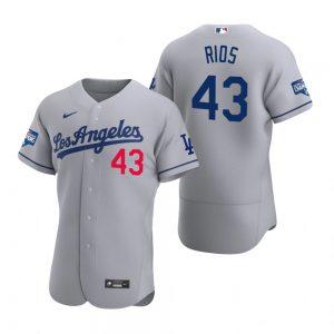 Los Angeles Dodgers #43 Edwin Rios Gray 2020 World Series Champions MLB Jersey