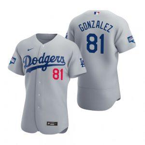 Los Angeles Dodgers #81 Victor Gonzalez Gray 2020 World Series Champions MLB Jersey