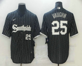 Men's Chicago White Sox #25 Andrew Vaughn Black With Small Number 2021 City Connect Stitched MLB