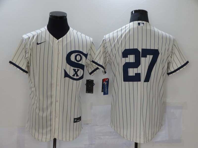Men's Chicago White Sox #27 Lucas Giolito 2021 Cream Navy Field of Dreams Flex Base Stitched MLB Jersey