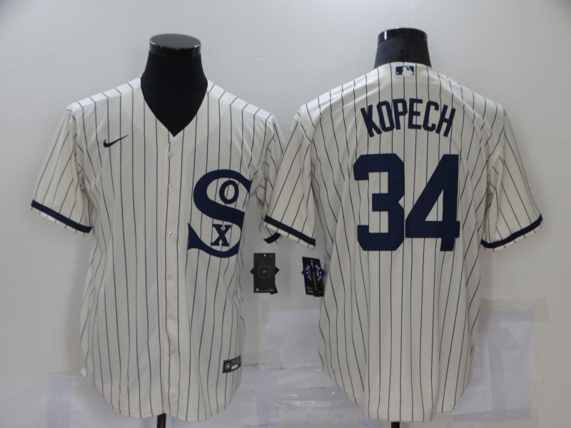 Men's Chicago White Sox #34 Michael Kopech 2021 Cream Field of Dreams Name Cool Base Stitched Nike MLB Jersey