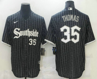 Men's Chicago White Sox #35 Frank Thomas Black With Small Number 2021 City Connect Stitched MLB Cool