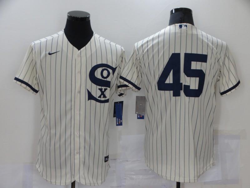 Men's Chicago White Sox #45 Michael Jordan 2021 Cream Navy Field of Dreams Flex Base Stitched MLB Jersey