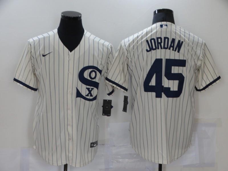 Men's Chicago White Sox #45 Michael Jordan 2021 Cream Navy Field of Dreams Name Flex Base Stitched MLB Jersey