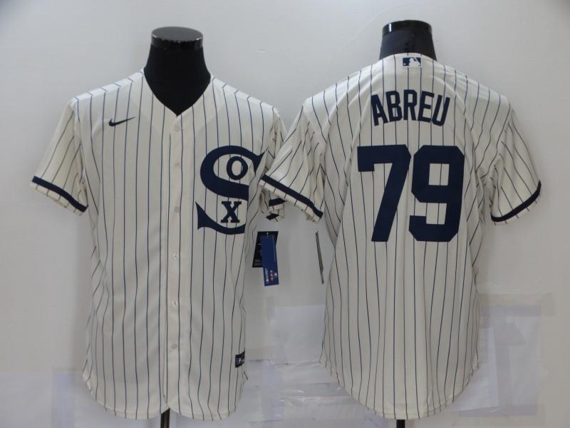 Men's Chicago White Sox #79 Jose Abreu 2021 Cream Navy Field of Dreams Name Flex Base Stitched MLB Jersey