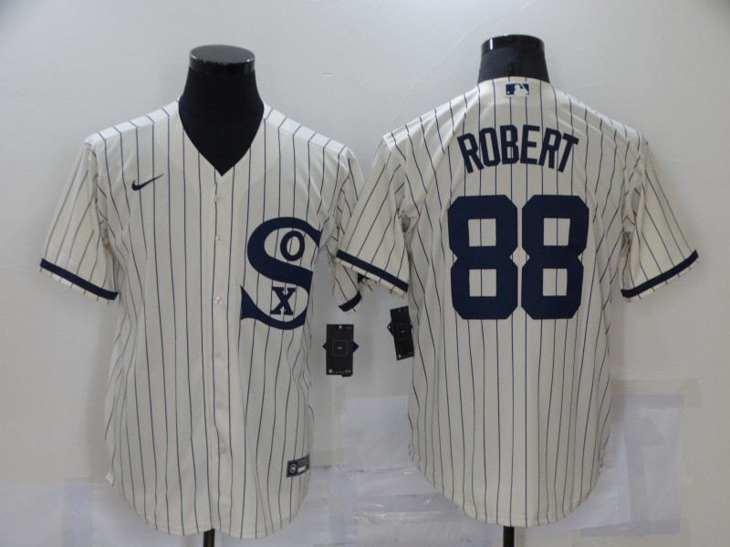 Men's Chicago White Sox #88 Luis Robert 2021 Cream Navy Field of Dreams Name Flex Base Stitched MLB Jersey