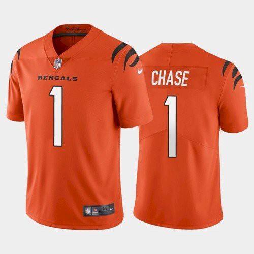 Men's Cincinnati Bengals #1 Ja'Marr Chase Orange 2021 Limited Football NFL Jersey
