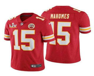 Men's Kansas City Chiefs #15 Patrick Mahomes Red 2021 Super Bowl LV Vapor Untouchable Stitched Nike Limited NFL Jersey