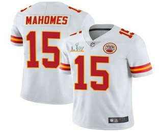 Men's Kansas City Chiefs #15 Patrick Mahomes White 2021 Super Bowl LV Vapor Untouchable Stitched Nike Limited NFL Jerse