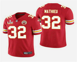 Men's Kansas City Chiefs #32 Tyrann Mathieu Red 2021 Super Bowl LV Vapor Untouchable Stitched Nike  NFL Jersey