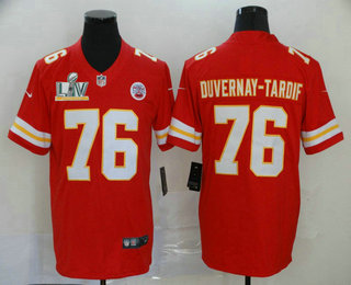 Men's Kansas City Chiefs #76 Laurent Duvernay-Tardif Red 2021 Super Bowl LV Vapor Untouchable Stitched Nike Limited NFL Jersey