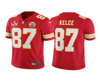 Men's Kansas City Chiefs #87 Travis Kelce Red 2021 Super Bowl LV Vapor Untouchable Stitched Nike Limited NFL Jersey