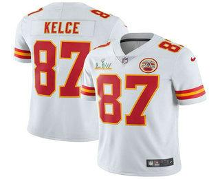 Men's Kansas City Chiefs #87 Travis Kelce White 2021 Super Bowl LV Vapor Untouchable Stitched Nike Limited NFL Jersey