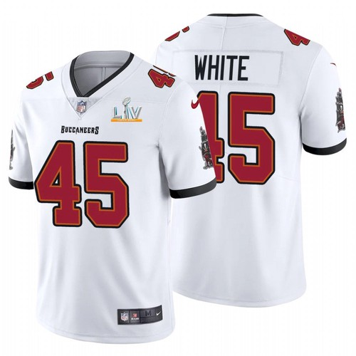 Men's Tampa Bay Buccaneers Devin White # 45 White Nike 2021 Super Bowl LV Jersey