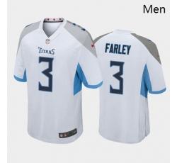 Men Tennessee Titans #3 Caleb Farley White Blue 2021 Draft NFL Nike Jersey