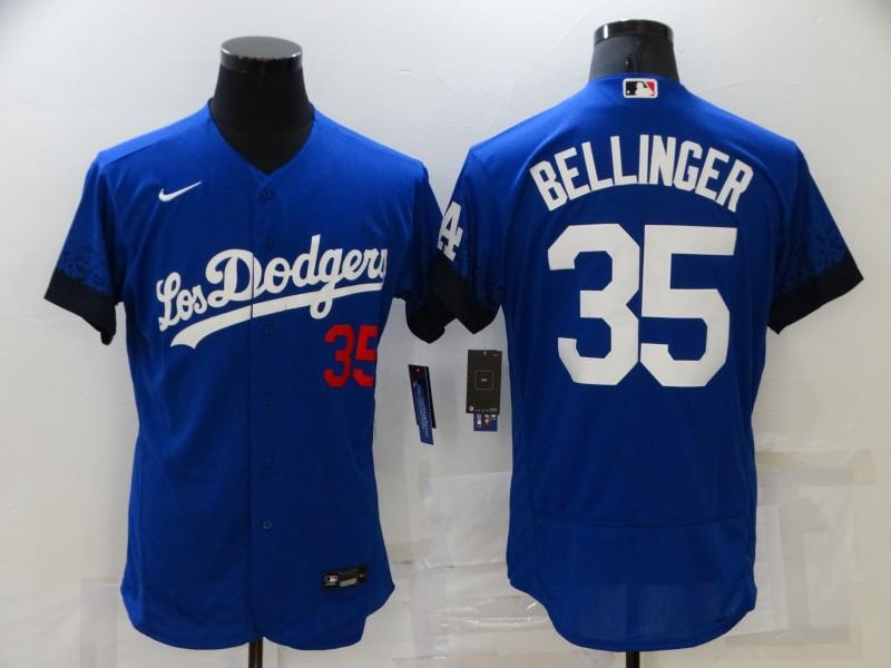Men's bellinger  #35 Los Angeles Dodgers 2021 Nike City Connect Player Jersey – blue.